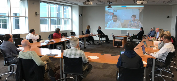 Panelists and audience members participate in the South Big Data Hub roundtable on data analytics in environmental health both remotely and in person.